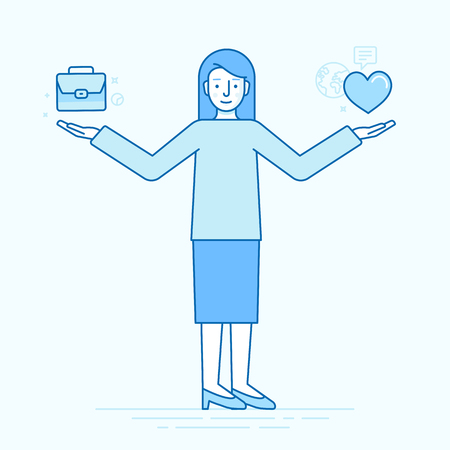 choosing: Vector flat linear illustration - work and life balance concept - woman choosing between business and personal