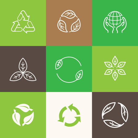 arrow icon: Vector set of icons and emblems - recycle symbols - sustainable development and zero waste concepts Illustration