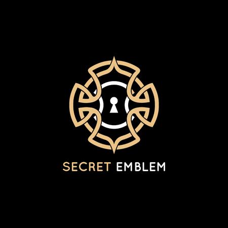 Modèle de conception de vecteur - emblème de trou de serrure dans le style vintage et couleur dorée - concept pour le jeu de quête, évasion de pièce de la vie réelle et puzzle
