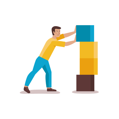 character abstract: Vector male character illustration in flat style - man building abstract structure from blocks - development concept Illustration