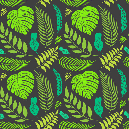 palm trees: Vector seamless pattern in flat minimal style with tropical leaves - abstract background for packaging Illustration
