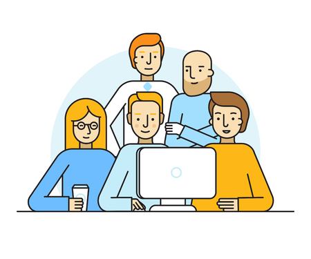 Vector illustration in trendy flat linear style - creative team working on a website for start up business - men and woman at the computer - developing and management of the project - human resources and career opportunities concept for banner or landing  Vectores