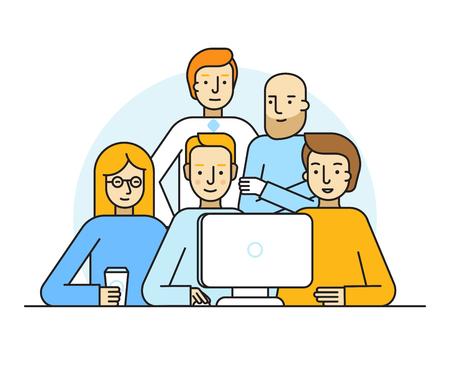 Ilustracja wektora w stylu modnej płaskiej liniowej - twórczy zespół pracujący na stronie internetowej na rozpoczęcie działalności gospodarczej - Mężczyźni i kobiety w komputerze - tworzenie i zarządzanie projektem - zasoby ludzkie i możliwości kariery koncepcja na banner lub lądowania