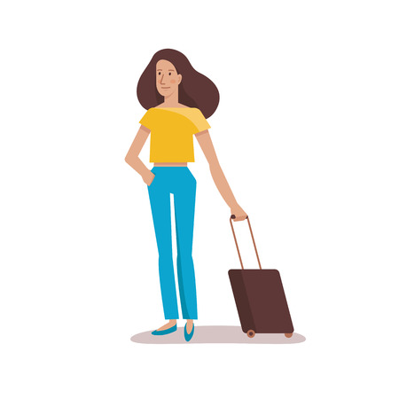 happy woman: Vector female character illustration in flat style - travel concept - woman with suitcase