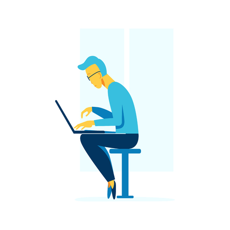 Vector male character illustration in flat style - man working at his computer - workaholic and internet addiction concept Illustration