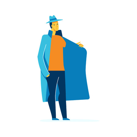 Vector male character illustration in flat style - man selling something hiding something forbidden in his coat - smuggler