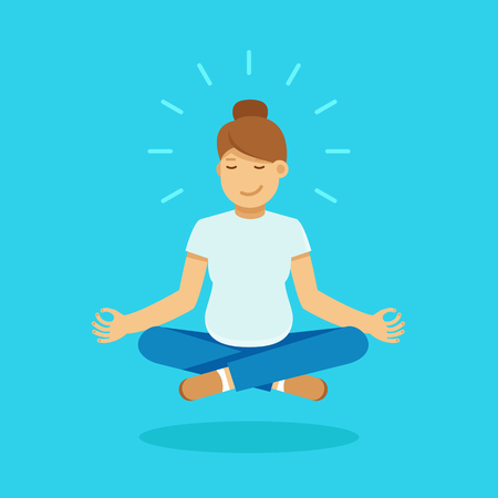 pregnancy yoga: Vector female character illustration in flat style - pregnant woman meditating and doing yoga - healthy pregnancy concept