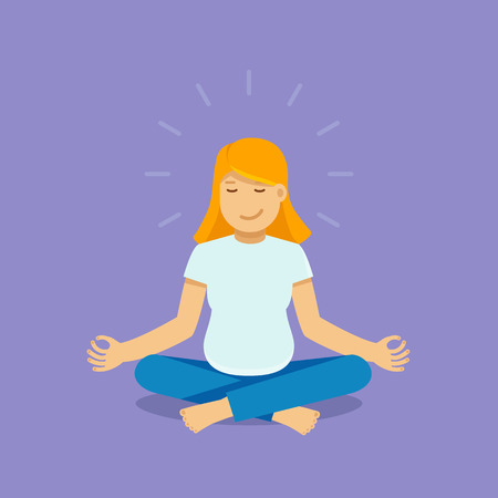 Vector female character illustration in flat style - pregnant woman meditating and doing yoga - healthy pregnancy concept