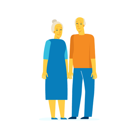 Vector characters illustration in flat style - senior couple - happy retirement