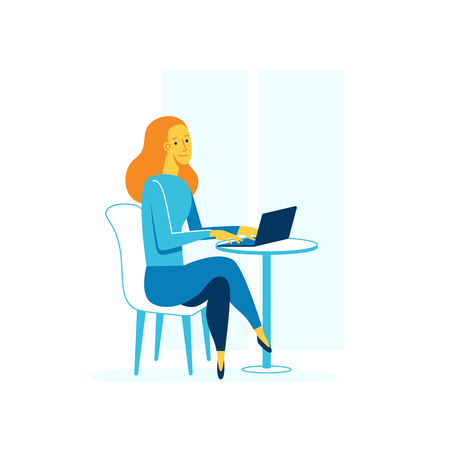 her: Vector female character illustration in flat and linear style - happy woman working with her laptop in the cafe - freelance and self-employment concept