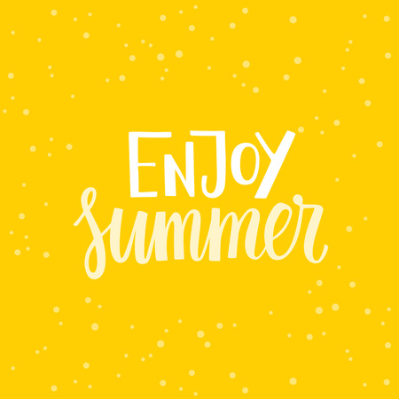 overlays: Vector illustration, poster or greeting card design template with hand lettering phrase for photo overlays and banners - enjoy summer Illustration