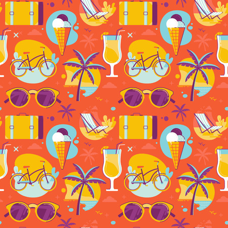 Vector seamless pattern in bright colors and icons in trendy flat linear style - summer background for posters, banners, packaging and wrapping paper  - travel, vacation and beach activities concept Illustration