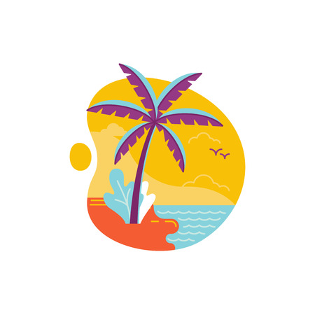 Vector simple illustration and icon in trendy flat linear style - summer and vacation concept - palm tree and beach Illustration