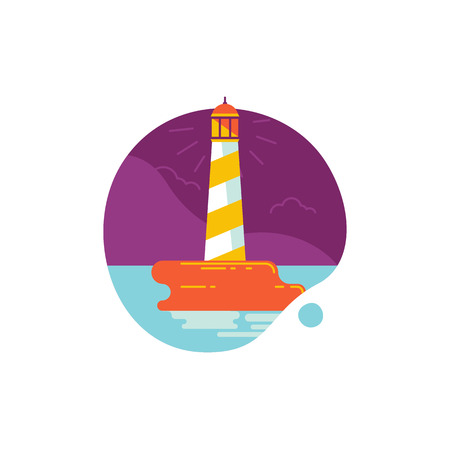 Vector simple illustration and icon in trendy flat linear style - summer and vacation concept - lighthouse