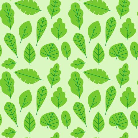 Vector naadloos patroon in trendy vlakke en lineaire stijl met bladeren - verpakkend document ontwerpmalplaatje en achtergrond voor verpakking in groene kleuren voor organische schoonheidsmiddelen Stock Illustratie