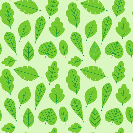 Vector seamless pattern in trendy flat and linear style with leaves - wrapping paper design template and background for packaging in green colors for organic cosmetics Ilustração