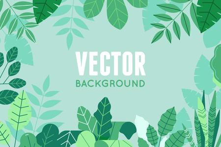 Vector illustration in trendy flat and linear style - background with copy space for text - green plants and leaves Illusztráció