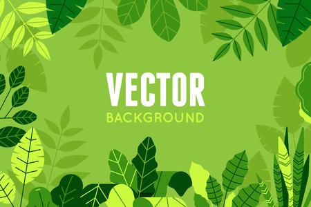 트렌디 한 평면 선형 스타일에서 벡터 일러스트 레이 션 - 녹색 식물과 잎 - 복사 텍스트를위한 공간을 배경