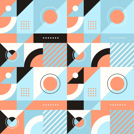 rhombus: Vector abstract seamless pattern in trendy modern minimal style with geometric shapes and stripes - design templates for packaging, banners, prints and posters in blue and orange colors Illustration
