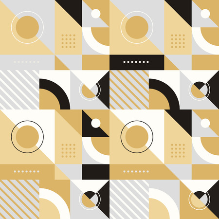 geometrical: Vector abstract seamless pattern in trendy modern minimal style with geometric shapes and stripes - design templates for packaging, banners, prints and posters in grey, gold and black colors