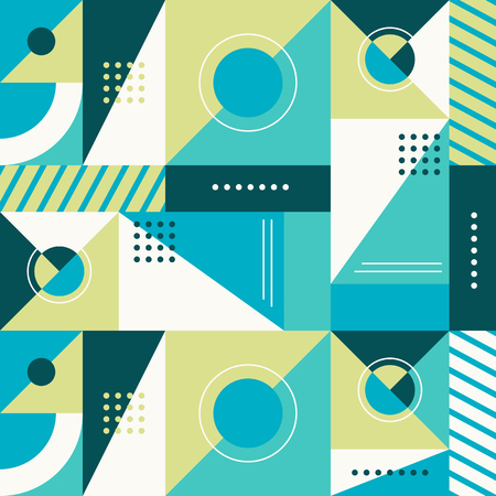 blue stripes: Vector abstract seamless pattern in trendy modern minimal style with geometric shapes and stripes - design templates for packaging, banners, prints and posters in green and blue colors