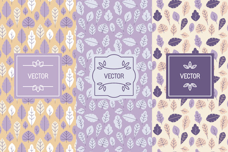 natural cosmetics: Vector set of design elements for packaging and seamless patterns with leaves - backgrounds and templates for organic and natural cosmetics and hand made products