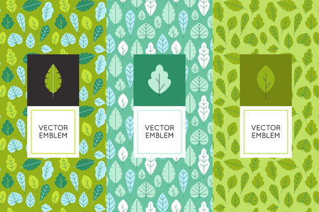 forest products: Vector set of design elements for packaging and seamless patterns with green leaves - backgrounds and templates for organic and natural cosmetics and hand made products