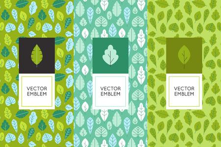 Vector set van design elementen voor de verpakking en naadloze patronen met groene bladeren - achtergronden en templates voor biologische en natuurlijke cosmetica en met de hand gemaakte producten Vector Illustratie