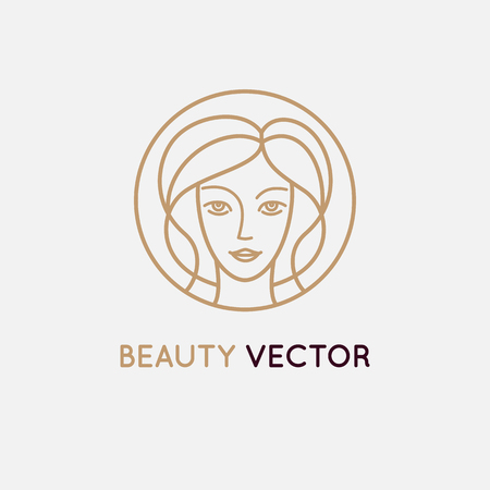 shop sign: Vector   design template in trendy linear style - womans face - abstract emblem for cosmetics and beauty products Illustration