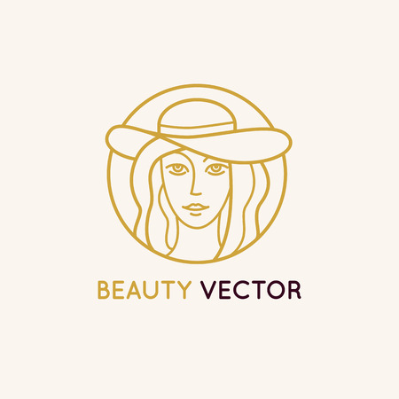Vector   design template in trendy linear style - womans face - abstract emblem for cosmetics and beauty products Illustration
