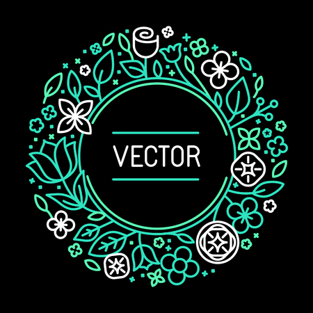 black circle: Vector vintage frame in trendy linear frame for florist shops and organic cosmetics - monogram design template with copy space for text with leaves and flowers and circle background in green colors on black background Illustration