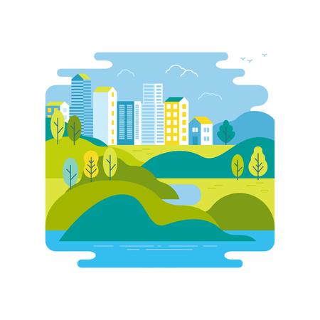 流行のフラットで直線的なスタイル - ベクトル図の背景に緑の風景、街のスカイライン - バナー、インフォ グラフィック、グリーティング カードの
