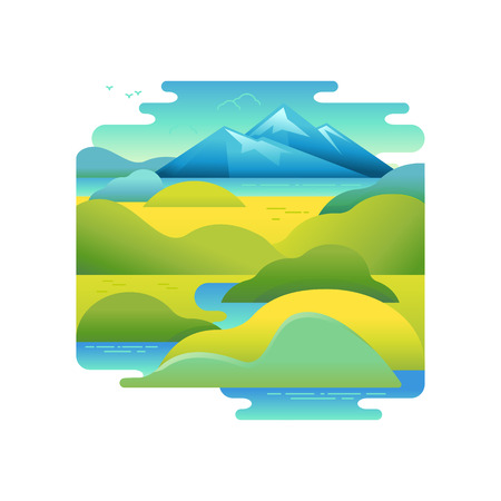 sky: Vector illustration in trendy flat and linear style - background with green landscape and mountains - concept and design element for banners, infographics, greeting card - travel concept