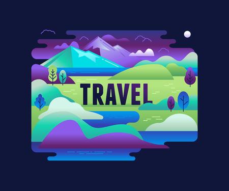Ilustración del vector en estilo plano y lineal de moda - de fondo con paisaje verde y montañas - concepto y elemento de diseño de banners, infografía, tarjeta de felicitación - concepto de viaje Foto de archivo - 70965341