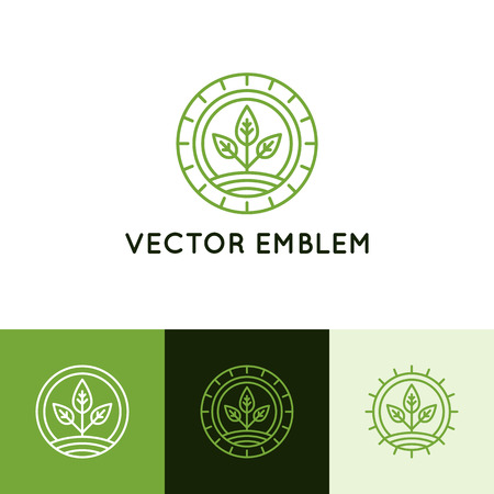 agriculture industry: Vector  design template in trendy linear style - growing sprout - natural and ecological concept for agriculture industry and organic products