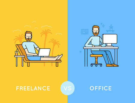 nomad: Vector illustration in trendy flat and linear style - freelance vs office - infographics design template - comparison of different style of work - outsourced employee and office worker
