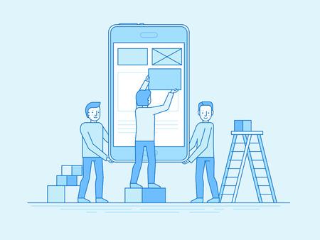 Vektor-Illustration in trendigen flachen und linearen Stil-mobilen App-Design und Benutzeroberfläche Entwicklung Konzept - kleine Menschen Gebäude Anwendung mit Blöcken auf dem Bildschirm des Mobiltelefons - Banner und Infografik Design-Vorlage