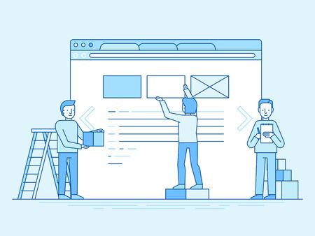 트렌디 한 평면 및 선형 스타일 - 웹 디자인 및 사용자 인터페이스 개발 개념 - 작은 사람들이 건물 웹 사이트에서 블록 - 배너 및 infographics 디자인 템플