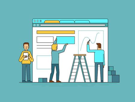 Vektor-Illustration im trendigen flachen und linearen Stil - Web-Design und Entwicklung von Benutzeroberflächen Konzept - klein Leute bauen Website mit Blöcken im Browser - Banner und Infografik-Design-Vorlage