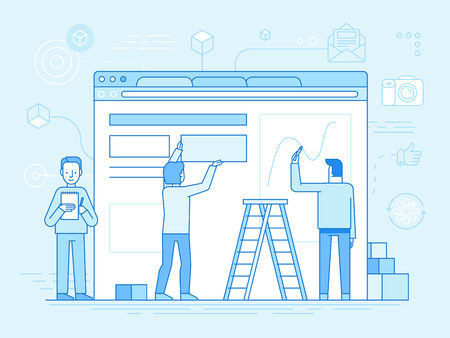 Vector illustration in trendy flat and linear style - web design and user interface development concept - small people building website with blocks in the browser - banner and infographics design template Ilustração