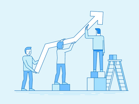 Vector illustration in trendy flat and linear style - teamwork and business growth concept - people constructing graphics - banner and infographics design template