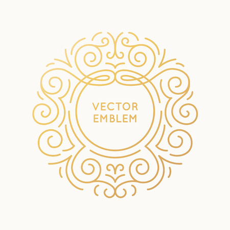 wedding couple: Vector trendy linear frame with copy space for text - wedding invitation design template - decorative background for greeting card in mono line style and golden colors Illustration