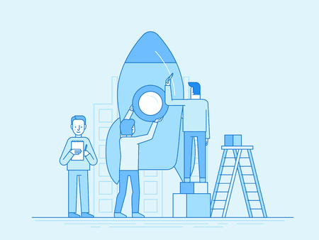 Vector illustration in trendy flat and linear style - teamwork and start up concept - people constructing space ship - banner and infographics design template Vectores