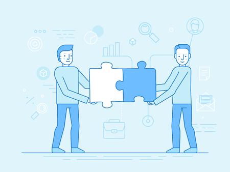 트렌디 한 평면 및 선형 스타일 - 팀워크 개념 - 사람들이 퍼즐 조각을 들고 배너 및 infographics 디자인 서식 파일 일러스트