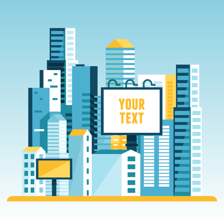 simple: Vector illustration in  flat style - city landscape with modern houses and buildings and advertising billboards