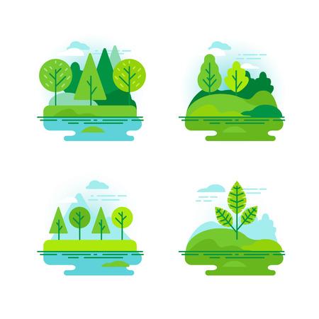 アイコンとフラット線形スタイルのイラスト緑の木々 の自然風景のベクトルを設定  イラスト・ベクター素材