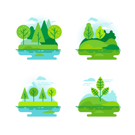 Vector set of icons and illustration in flat linear style - nature landscapes with green trees Фото со стока - 72098633