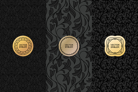 leaf: Vector set of design elements, labels and seamless patterns for packaging for luxury products - simple black backgrounds with golden badges with copy space for text