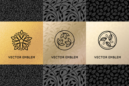 Vector set of design elements, labels and frames for packaging for luxury products in trendy linear style - simple and bright background made with golden foil on black background with copy space for text for beauty, jewelry and cosmetics