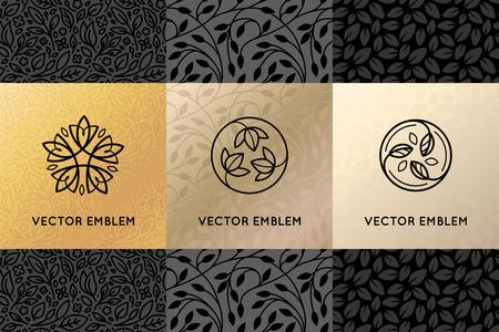 Vector set ontwerpelementen, etiketten en frames voor verpakking voor luxe producten in trendy lineaire stijl - eenvoudige en lichte achtergrond gemaakt met gouden folie op zwarte achtergrond met kopie ruimte voor tekst voor schoonheid, sieraden en cosmetica